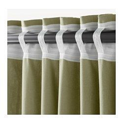 INGERT Cortinas &alzapaños, 1par, verde - 145x300 cm - IKEA
