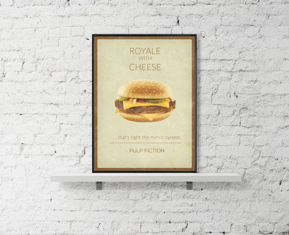 PULP FICTION Movie Poster Royale With Cheese by BaydleCreative