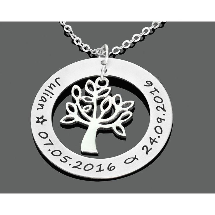Eine wunderschöne Lebensbaum Kette komplett aus 925 Sterling Silber mit individueller Gravur. Ein besonderes Geschenk zum Geburtstag, Geburt, Taufe oder Hochzeitstag etc.