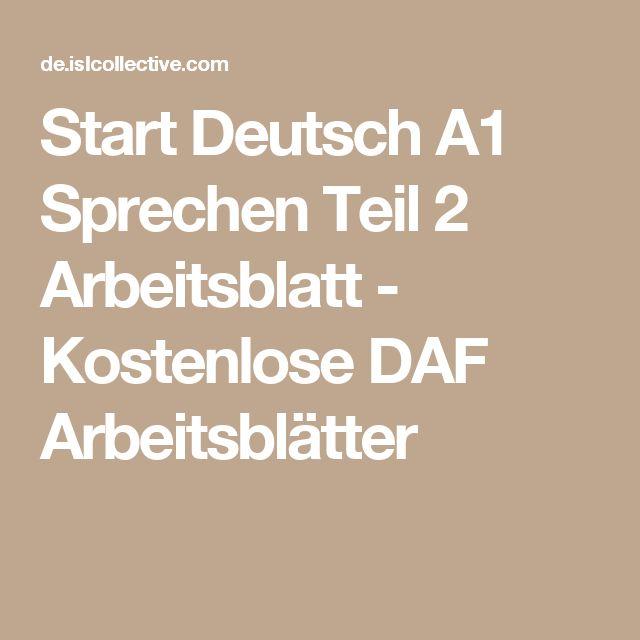 Start Deutsch A1 Sprechen Teil 2 Arbeitsblatt - Kostenlose DAF Arbeitsblätter
