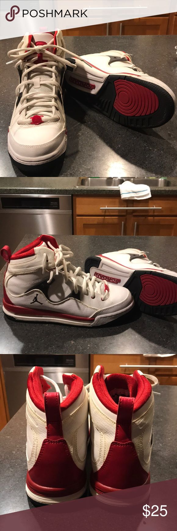 Red and White Jordans Size 7 youth! Jordan Shoes Sneakers