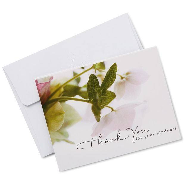 White Floral Sympathy Thank You Notes, Box of 20