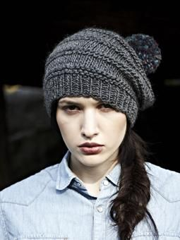 Knit this slouchy bobble hat with garter stitch detail from 10 More, Simple Cosy