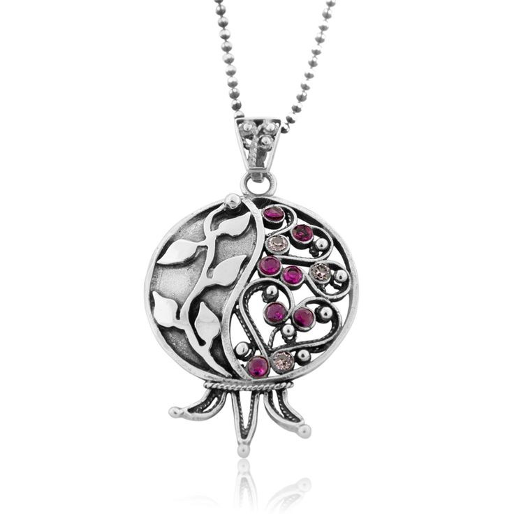 Sterling Silver Filigree Pomegranate Necklace with Ruby Stones, Jewish Jewelry | Judaica Web Store