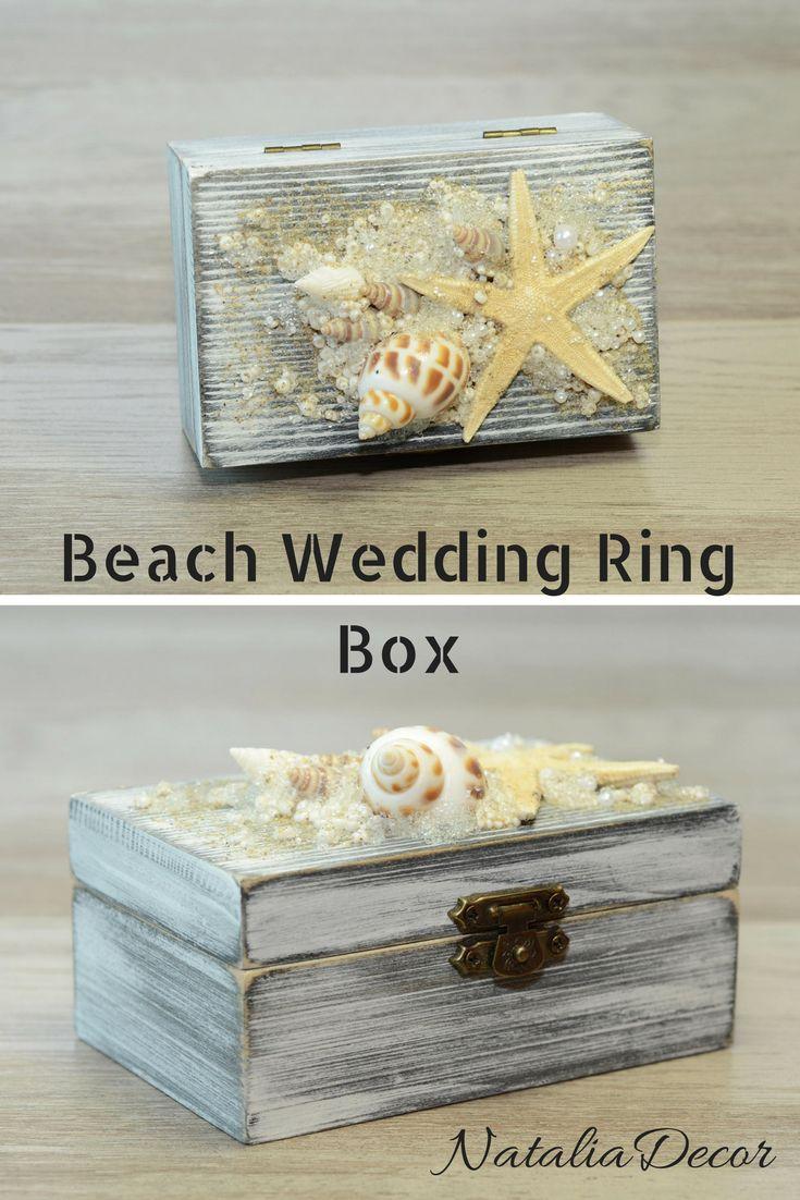 Beach Wedding Box, Seashell Starfish Ring Bearer Box, Nautical Ring Box, White Black Ring Holder, Personalized Pillow Alternative, Еngagement Ring Box