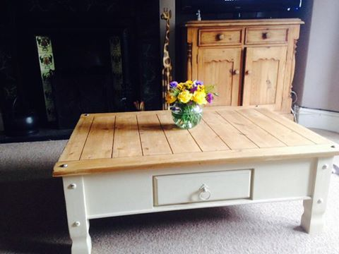 Large Mexican pine coffee table, painted underneath and distressed.