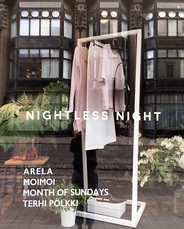 Welcome | to Nightless Night pop-up opening party tonight at 6pm. (Never mind the storm, we'll keep you safe and warm!)  Vesta showtime at 8pm.  Drinks by @lignellpiispanenintl icecream by @jymyicecream and sounds by @uploudaudio  #nightlessnightpopup #arelastudio #moimoiaccessories #monthofsundayshelsinki #terhipölkki #lignellpiispanen #jymyicecream #uploudaudio