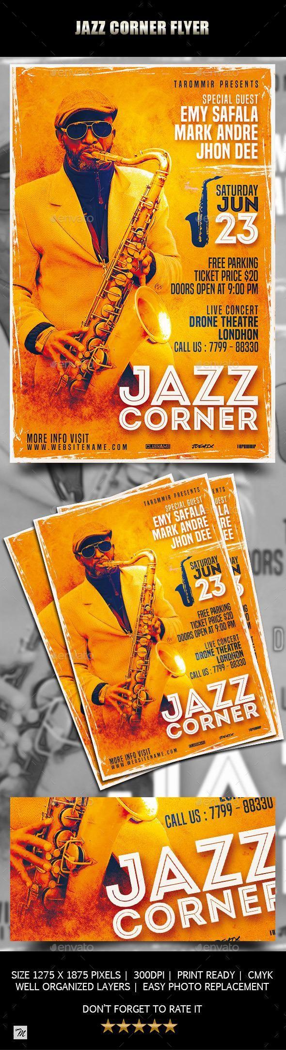 Jazz Corner Flyer BestDesignResources Free psd flyer