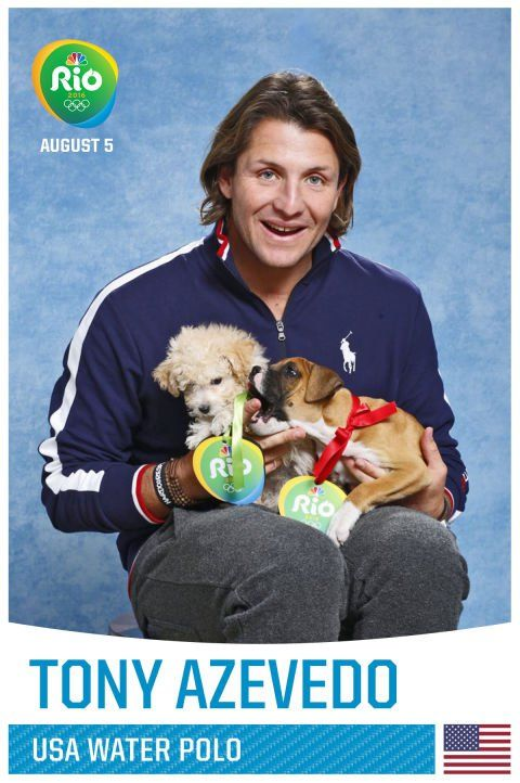 Pin for Later: A Whole Bunch of Olympians Holding Puppies, Because Obviously Tony Azevedo