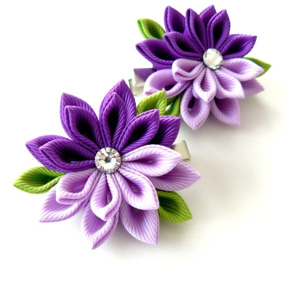 Kanzashi  Fabric Flowers. Set of 2 hair clips. Purple and by JuLVa, $13.50