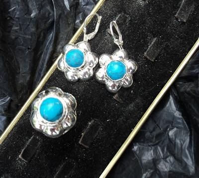 Sterling silver 925 set of ring and earrings with turquoise. Handmade jewelry. Weddings, Bridesmaids, Birthday gift. by newstylejewerly on Etsy