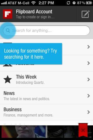 Flipboard iPhone coach marks screenshot