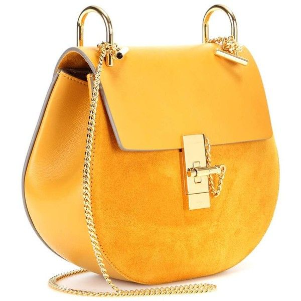 Chloé Drew Leather and Suede Shoulder Bag (130.335 RUB) ❤ liked on Polyvore featuring bags, handbags, shoulder bags, chloe purses, genuine leather purse, leather handbags, shoulder handbags and yellow purse