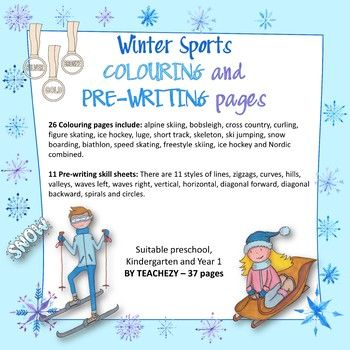 Winter Sports COLOURING and PRE-WRITING Pages