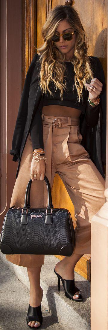Zara Brown Wide Leg Capri Trousers by Twin Fashion
