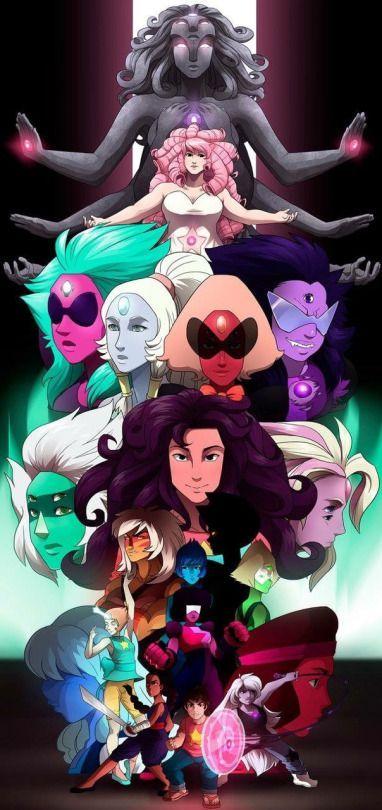 Steven Universe Narra la historia de un niño llamado Steven, que vive en Cuidad Playa junto a tres guerreras alienígenas con superpoderes llamadas «las Gemas de Cristal»: Garnet, Amatista y Perla.