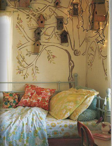 Bird houses. Cute idea for a little girl's room (provided she likes birds!)