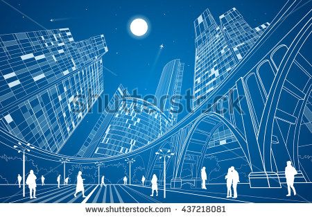 Big bridge, night city on background, industrial and infrastructure illustration, white lines landscape, people walk on the square, neon town, vector design art