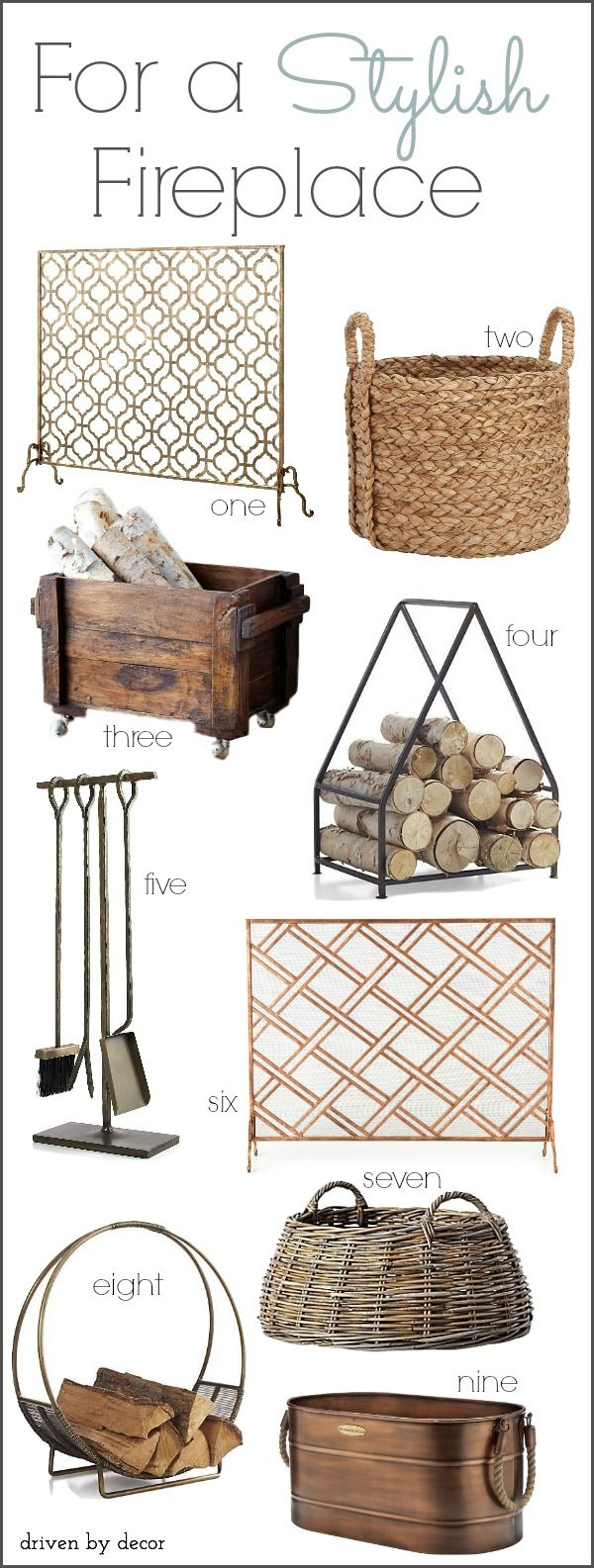 Stylish Fireplace Accessories (Fireplace Screens, Log Holders, & Tools) - Post includes direct links!