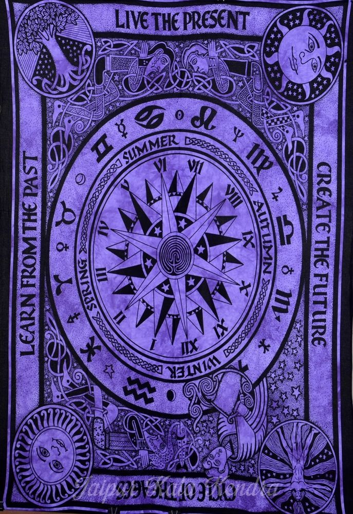 Indian Tapestry Astrology Cycle of Ages Wall Hanging Purple Bed Sheet Decor Art #JaipurKalaKendra