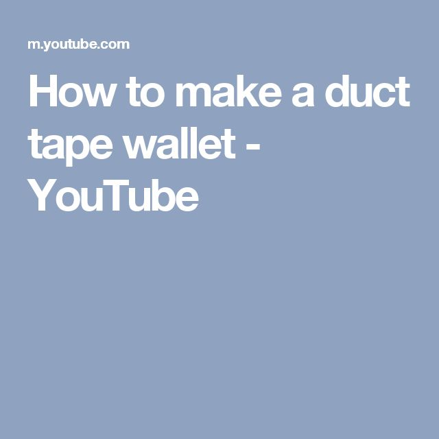 How to make a duct tape wallet - YouTube