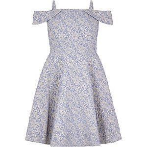Girls blue jacquard bardot dress