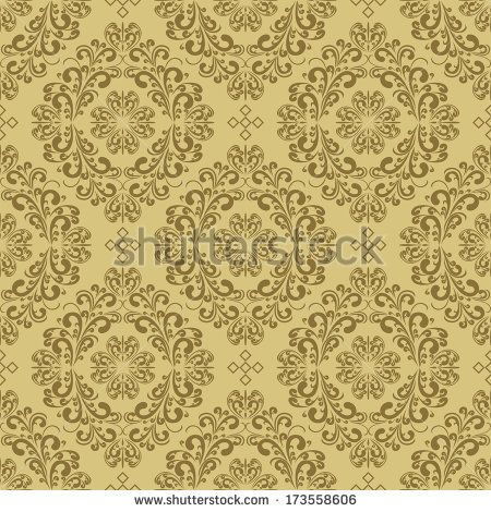 Seamless damask beige Wallpaper. Raster version. - stock photo