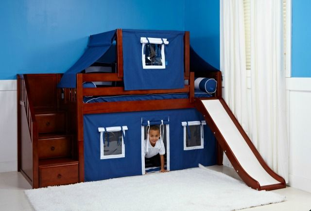 Boy's Play Beds & Forts  Back to the fun factor! You can take that same toddler bed with top tent and raise it to a low loft when your child is ready and older and keep the fun going! At this point you can add a slide and a bottom curtain. Our indoor forts and play beds are popular and best sellers for boys ages 4-8.