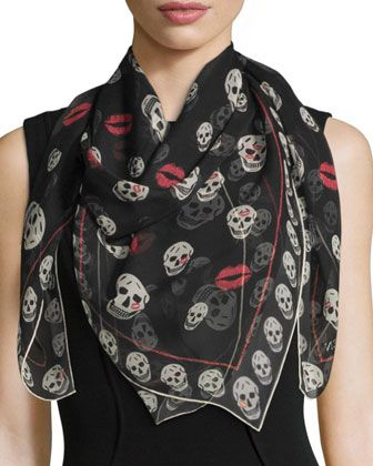 Skulls+&+Kisses+Silk+Scarf,+Black/Ivory+by+Alexander+McQueen+at+Neiman+Marcus.