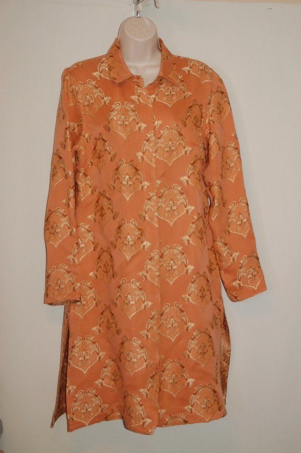 Citron Santa Monica Duster Jacket S Peach Asian Print Silk Blend #CitronSantaMonica #BasicJacket