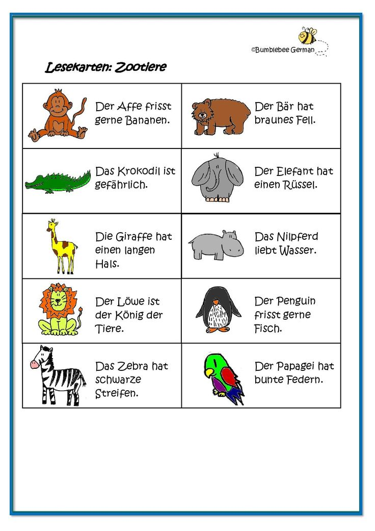 worksheet german for kids zoo animals zootiere. Black Bedroom Furniture Sets. Home Design Ideas