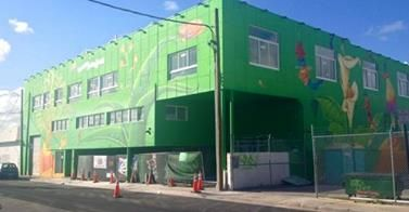 Wynwood House by Goldman Properties' is now green. 7,000 square feet of commercial space on the first floor. 1,500 square feet office/studio space on the second floor, live/work units on third floor.