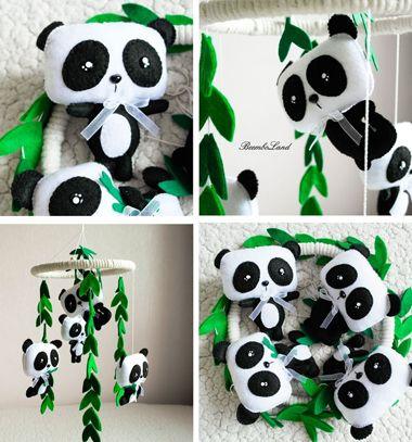 DIY Felt panda baby mobile (free sewing pattern) // Pandás forgó babaágy fölé filcből (ingyenes szabásminta) // Mindy - craft tutorial collection // #crafts #DIY #craftTutorial #tutorial