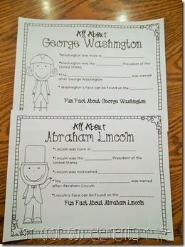 President's Day Resources: All about Washington and Lincoln fact sheets to be filled in by students