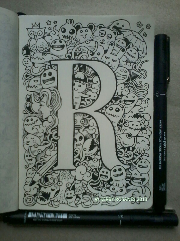 Letter 39 r 39 doodle by kerby rosanes doodles pinterest for Simple doodle designs with names