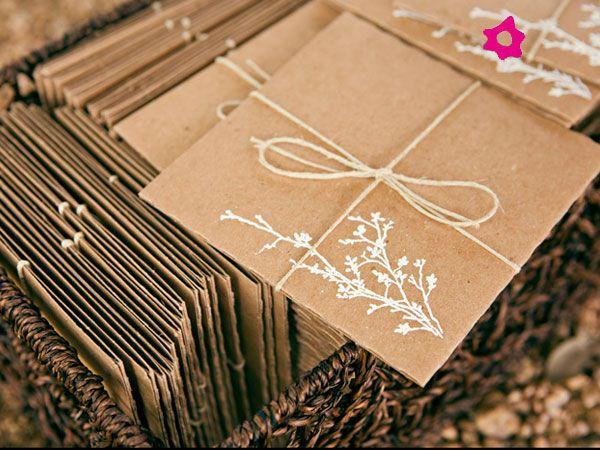 Convite de casamento de papel reciclado