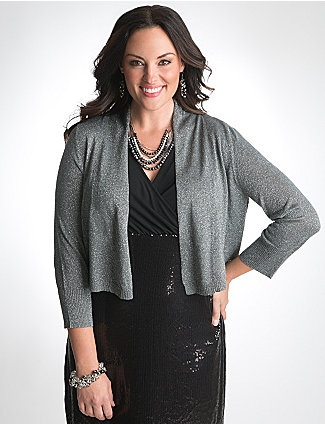 Woven throughout with shimmering metallic threads, you'll stand out no matter how you wear our 3/4 sleeve cropped shrug. An easy way to warm up dresses and tops, this fashionable layering essential features ruched detailing and a draped open placket. Ribbed cuffs and hem complete the look. sonsi.com