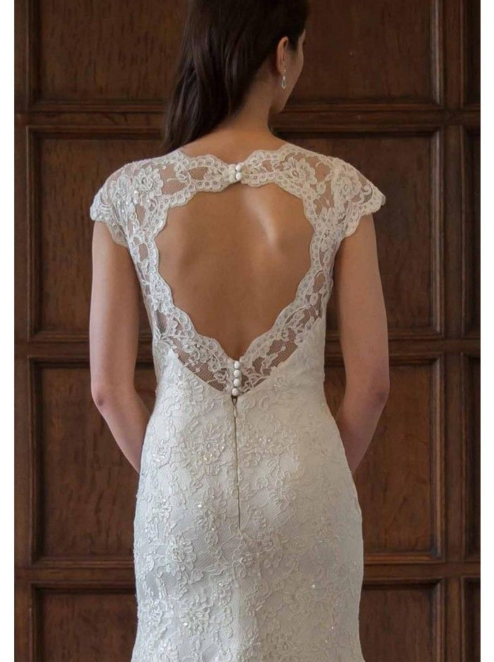 Augusta Jones Anita Wedding Dress - lace fit and flare gown, key-hole back, cap sleeves not sold on cap sleeves but none the less love it