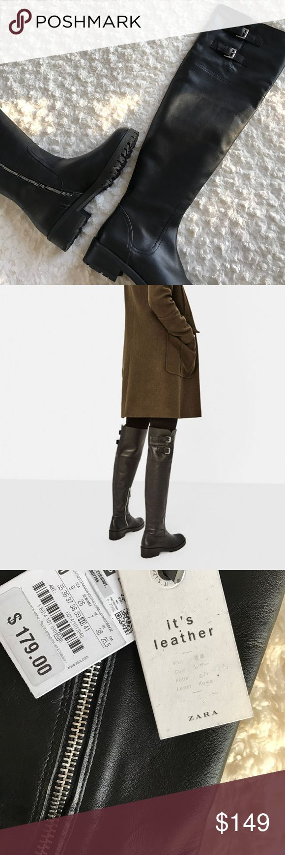 "ZARA over-the-knee 100% Leather Boots No trades. ZARA Black flat leather boots. Buckles on the side.  Side zip closure. Track sole. Rounded toe.  Sole height of 5.0 cm. / 1.9"". Ships in original box. Zara Shoes Over the Knee Boots"
