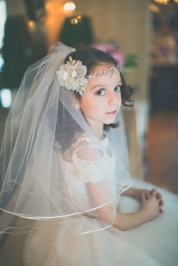 Those Picture Of First Communion Hairstyles Will Give You An Idea After You See It : First Communion Veil Styles , This Hairstyle Is Good For Long Thick Hair Using A Headband Will Give A Casual Impression