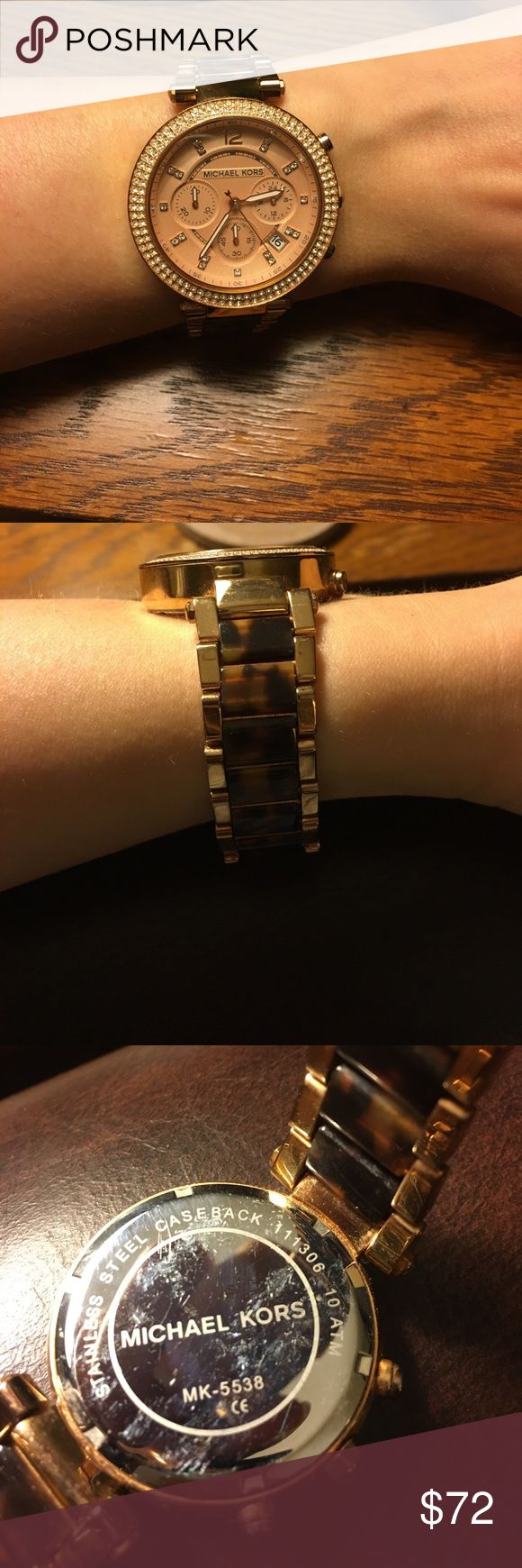 Michael Kors Rose Gold & Tortoise Shell Watch This watch is absolutely gorgeous but I just don't wear it enough anymore. 😞 It needs a new battery and a little cleaning but it's still in great shape! Some minor scuffs on the edges as seen in photos. I get SO many compliments on this watch!! Feel free to ask questions & make bundles. I ship within 24 hrs. Michael Kors Accessories Watches