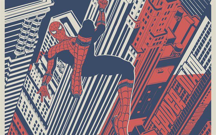 壁紙をダウンロードする アメイジング-スパイダーマン, 里帰り, 2017, 美術, ポスター, 新しい映画