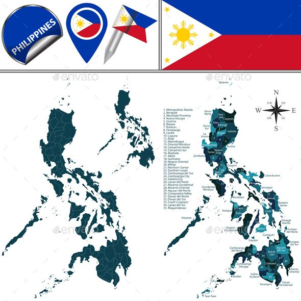 Map of Philippines with Named Regions by sateda2012 Vector map of Philippines with named regions and travel icons. Package contains: EPS (10 version), JPG (50005000 pixels, RGB).