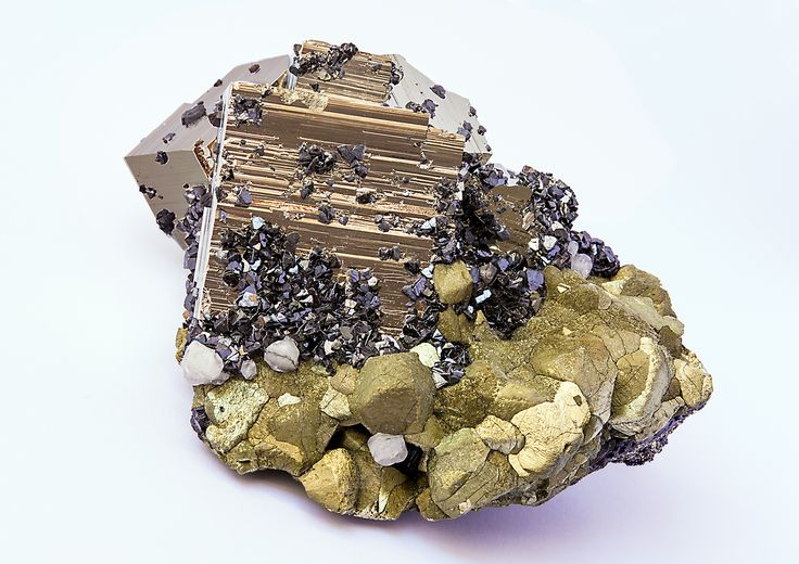 Pyrite and Chalcopyrite with Sphalerite,  Huanzala Mine, Dos de Mayo Province, Huánuco Department, Peru. Size: 11 x 7.6 x 6.9 cm