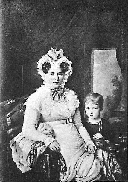 Портрет Софьи Юрьевны Самариной ур. Неледенской-Мелецкой с сыном Юрием 1824 г.