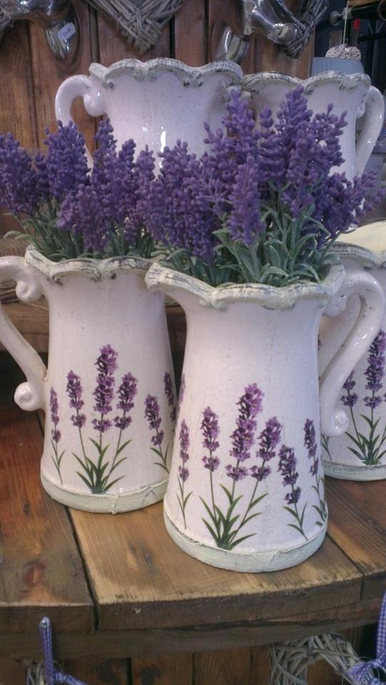 Floral Arrangements ~ pitchers of lavender