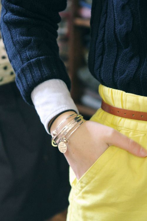 Could totally copy this with navy lilly cable knit + jcrew pink linen skirt
