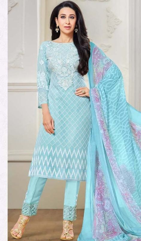 Aggrandize elegance like Karisma Kapoor in this sky blue color georgette pant suit. The ethnic lace, patch and resham work in the dress adds a sign of magnificence statement to your look. #georgettestraightdresses #skyblueshadedress #longgeorgettesuits
