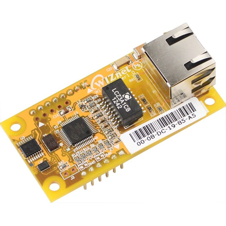 WIZ550io is an auto configurable Ethernet controller that includes a W5500 (TCP/IP hardwired chip and PHY embedded), a transformer and RJ45.
