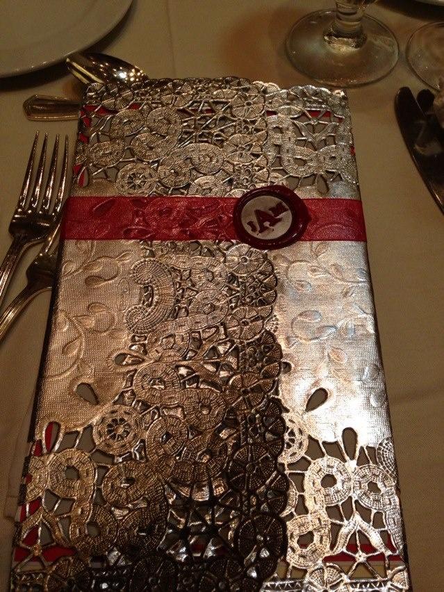 DIY Wax sealed reception menu program made with silver